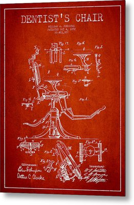 Dentist Chair Patent Drawing From 1892 - Red Metal Print