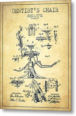 Dentist Chair Patent Drawing From 1892 - Vintage Metal Print by Aged Pixel
