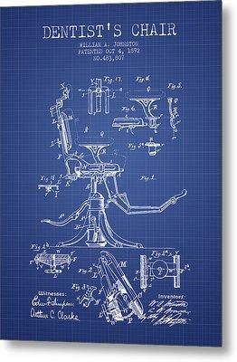 Dentist Chair Patent From 1892 - Blueprint Metal Print