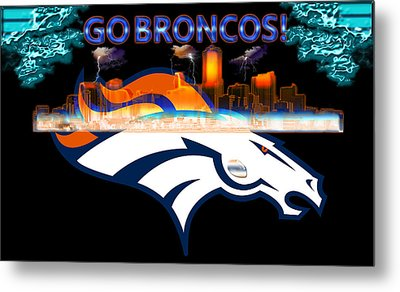 Denver Broncos 3 Metal Print by Becca Buecher