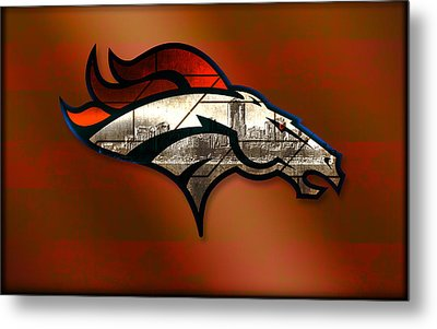Denver Broncos With Skyline 2 Metal Print by Becca Buecher