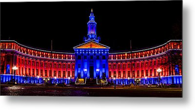 Denver City And Country Building In Bronco Blue And Orange Metal Print