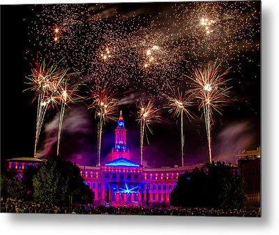 Denver Colorado Independence Eve Fireworks Metal Print by Teri Virbickis