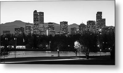 Denver Colorado Skyline And Mountains Panorama Metal Print by Gregory Ballos