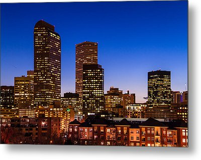 Denver Colorado Skyline At Blue Hour Mar 2013 Metal Print