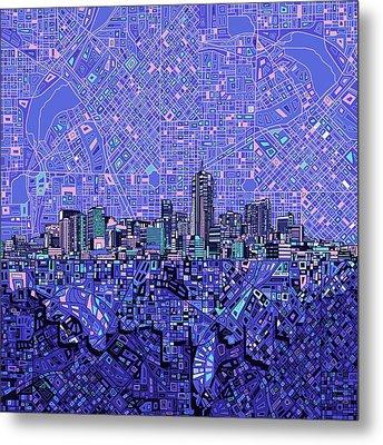 Denver Skyline Abstract 4 Metal Print