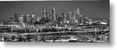 Metal Print featuring the photograph Denver Skyline At Dusk Black And White Bw Evening Panorama Broncos Colorado  by Jon Holiday
