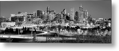 Metal Print featuring the photograph Denver Skyline At Dusk Evening Bw Black And White Evening Panorama Broncos Colorado  by Jon Holiday