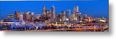 Metal Print featuring the photograph Denver Skyline At Dusk Evening Color Evening Extra Wide Panorama Broncos by Jon Holiday