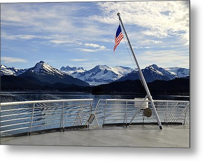 Departing Auke Bay Metal Print by Cathy Mahnke