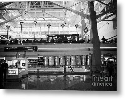 departures board at concourse b Denver International Airport Colorado USA Metal Print by Joe Fox
