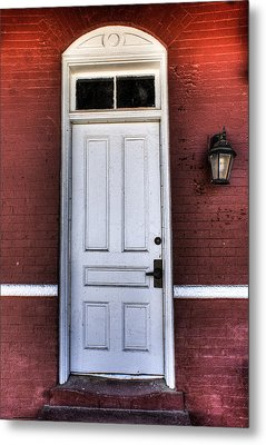 Depot Door Metal Print by Rebecca Hiatt