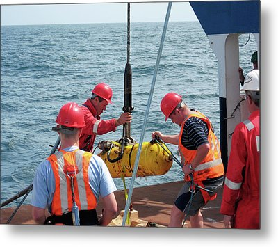 Depressor Weight Being Lifted Aboard Metal Print by B. Murton/southampton Oceanography Centre