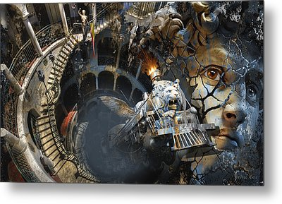 Derailment Or Train Of Thought Metal Print by George Grie