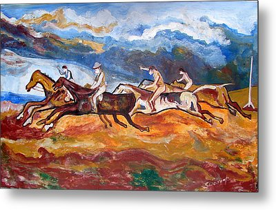 Metal Print featuring the painting Derby Race Horses by Anand Swaroop Manchiraju