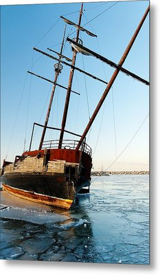 Derelict Faux Tall Ship Metal Print by Trever Miller