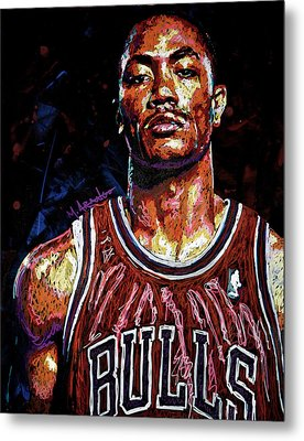 Derrick Rose-2 Metal Print by Maria Arango