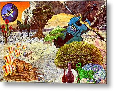 Metal Print featuring the mixed media Desert Blues by Ally  White