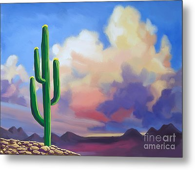 Metal Print featuring the painting Desert Cactus At Sunset by Tim Gilliland