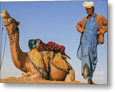 Desert Dance Of The Dromedary And The Camel Driver Metal Print