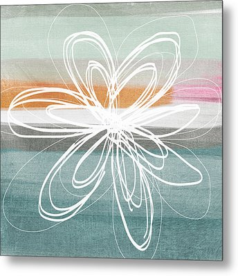 Desert Flower- Contemporary Abstract Flower Painting Metal Print