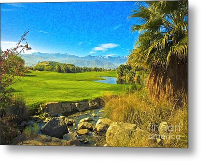Metal Print featuring the photograph Desert Golf Resort Pastel Photograph by David Zanzinger