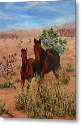 Metal Print featuring the painting Desert Horses by Roseann Gilmore