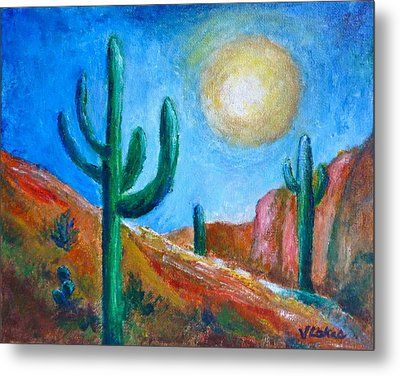 Desert Moon Metal Print by Victoria Lakes