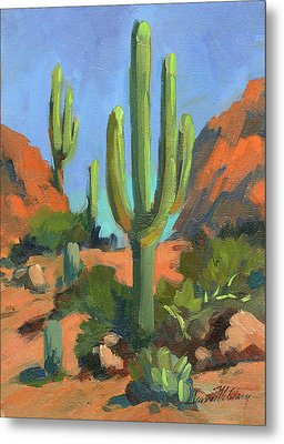 Desert Morning Saguaro Metal Print by Diane McClary