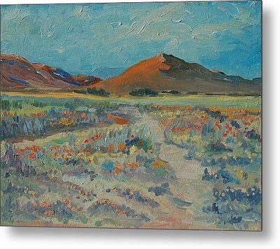 Desert Spring Flowers With Orange Hill Metal Print by Thomas Bertram POOLE