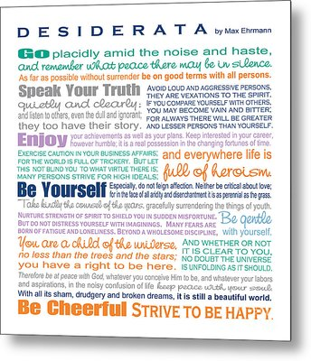Desiderata - Multi-color - Square Format Metal Print