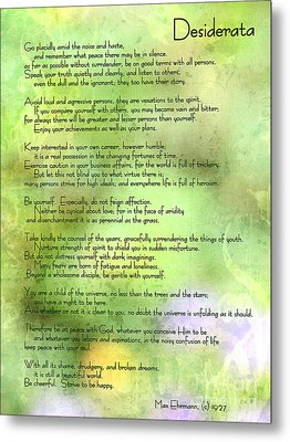Desiderata - Inspirational Poem Metal Print