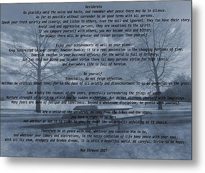 Desiderata Winter Scene Metal Print by Dan Sproul