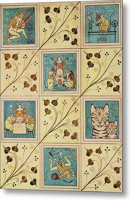 Design For Nursery Wallpaper Metal Print by Voysey