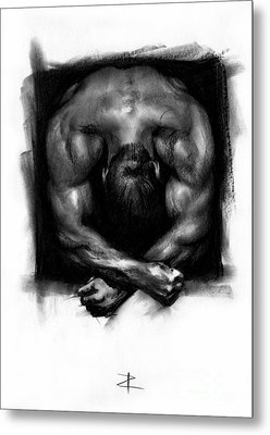 Metal Print featuring the drawing Despondent by Paul Davenport