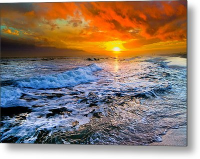 Metal Print featuring the photograph Destin Beach Florida-dark Red Sunset Seascape Photography by eSzra