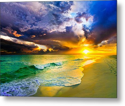 Destin Florida-purple Sunset Over The Beach Art Prints Metal Print