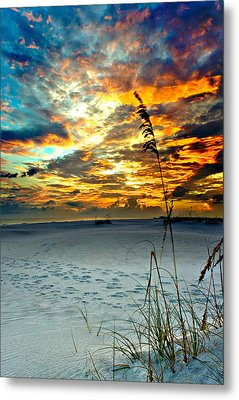 Metal Print featuring the photograph Destin Florida White Sand Landscape-fiery Red Sky Sunset by Eszra Tanner