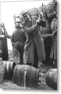 Destroying Barrels Of Beer Metal Print by Underwood Archives