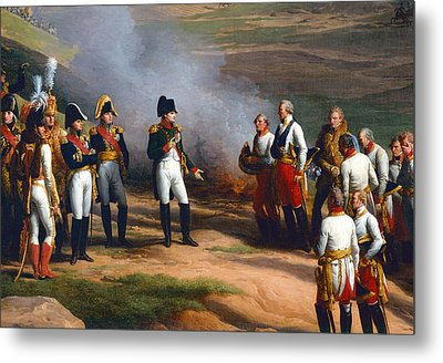 Detail From The Surrender Of Ulm, 20th October, 1805 - Napoleon And The Austrian Generals, 1815 Oil Metal Print by Charles Thevenin