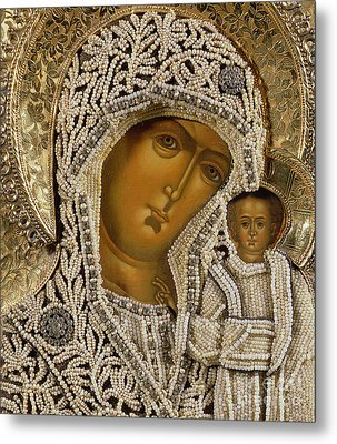 Detail Of An Icon Showing The Virgin Of Kazan By Yegor Petrov Metal Print