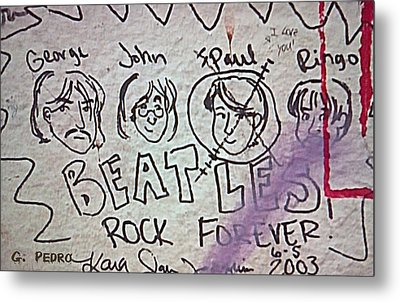 Detail Of Graffiti On Abbey Road Sign Metal Print by George Pedro