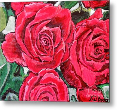 Metal Print featuring the painting Detail Of The Delight Of Grandma's Roses Painting by Kimberlee Baxter