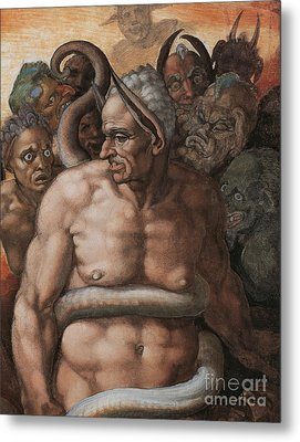 Detail Of The Last Judgment Metal Print by Michelangelo