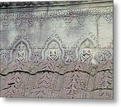 Detailed Bas-reliefs In Angkor Wat In Angkor Wat Archeological Park Near Siem Reap-cambodia Metal Print by Ruth Hager