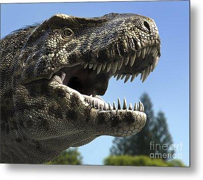 Detailed Headshot Of Tyrannosaurus Rex Metal Print by Rodolfo Nogueira