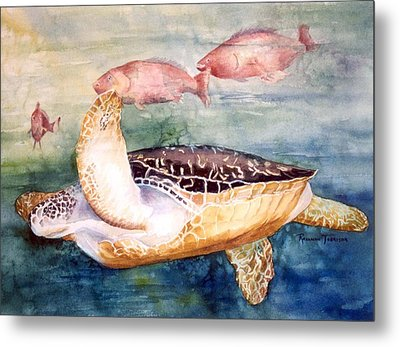Metal Print featuring the painting Determined - Loggerhead Sea Turtle by Roxanne Tobaison