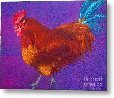Determined Rooster Metal Print by Sandy Linden