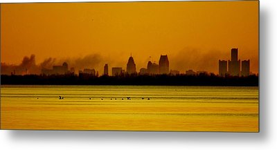 Detroit At Dawn Metal Print