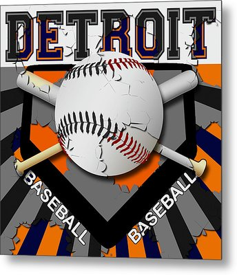 Detroit Baseball  Metal Print by David G Paul